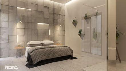ARQUITECTURA, AGUA Y LUZ FRENTE AL MAR: Dormitorios de estilo minimalista de La Pecera Estudio Creativo