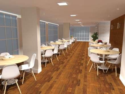 Salão de festas gourmet: Paredes  por Aline Mozzer Arquitetura