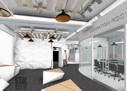 Sala de inspiración, Visualizer y Retail observados desde el Show room.: Oficinas de estilo escandinavo por Eisen Arquitecto