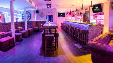Barhocker mit robustem Microvelour in Antikbraun:  Bars & Clubs von DELIFE