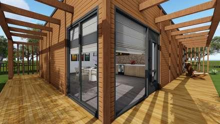 Modelo | T2 127m²: Casas pré-fabricadas  por Discovercasa | Casas de Madeira & Modulares