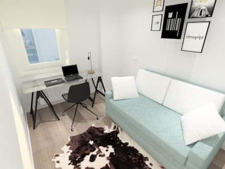 Diseño Interior Piso Reformado: Estudios y despachos de estilo moderno de Raquel Rodriguez