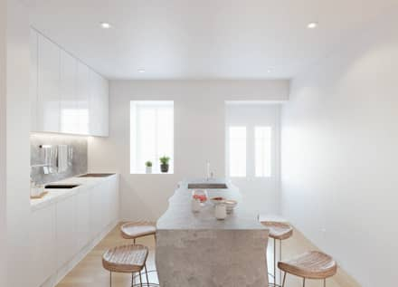 Casa das Muralhas: Cozinhas minimalistas por Corpo Atelier