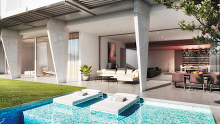Exterior Rendering of Pool Area:  Swimming pond by NoTriangle Studio