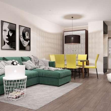 Однокомнатная квартира-студия в стиле поп-арт: Гостиная в . Автор – Rerooms