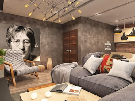 Трехкомнатная квартира в стиле лофт: Гостиная в . Автор – Rerooms