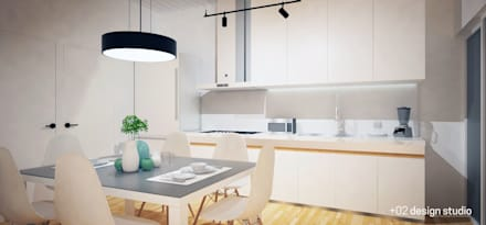 Slice House: minimalistic Dining room by Plus Zero Two Design Studio