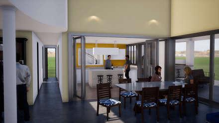 CASA COLINA: Cocinas equipadas de estilo  por BIM Urbano