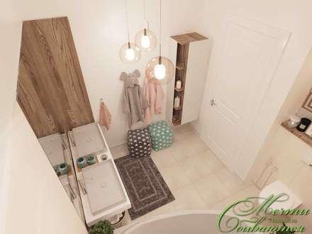 Лёгкая неоклассика в ванных комнатах: Ванные комнаты в . Автор – Компания архитекторов Латышевых 'Мечты сбываются'