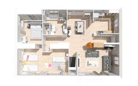 Rénovation d'une maison des années 70 - Frontonas: Maisons de style de style Classique par 1.61 design