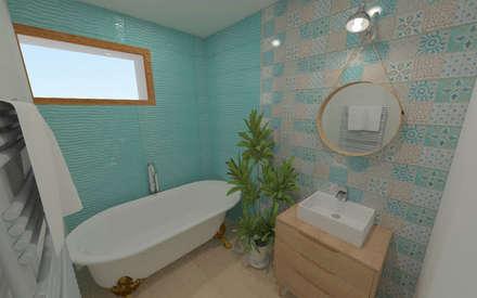 Home staging virtuelle pour la vente d'une maison - Pélussin: Salle de bains de style  par 1.61 design
