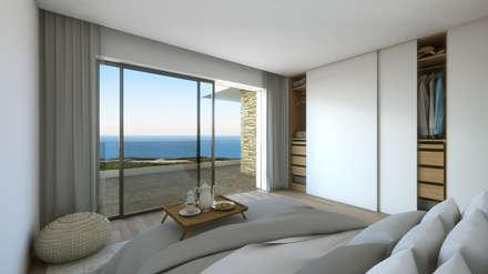 Ocean Villas | Living Concept at Ribamar | Ericeira: Quartos minimalistas por DR Arquitectos