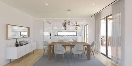 Ocean Villas | Living Concept at Ribamar | Ericeira: Salas de jantar minimalistas por DR Arquitectos