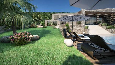 Progetto Villa a Saint Barth: Giardino in stile in stile Tropicale di studiosagitair