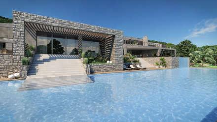 Progetto Villa a Saint Barth: Piscina a sfioro in stile  di studiosagitair