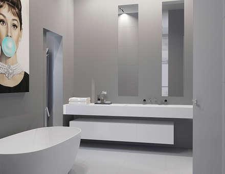 Salle de bains grise: Salle de bains de style  par réHome
