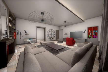 Salon 3D: Salon de style de style Moderne par réHome