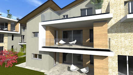 Complesso residenziale: Case in stile in stile Moderno di ALMA Architettura | Mario Pan | Alessandro Pezzotti