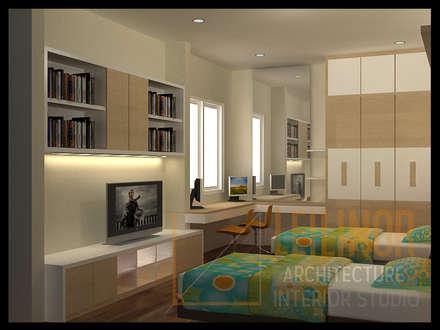 Modern Minimalist House:  Kamar Tidur by CV Leilinor Architect