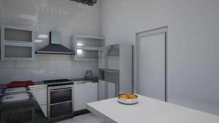 Cocina - Render 3d: Cocinas de estilo industrial por Mica Chapado