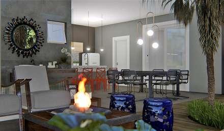 Área de lazer Perfeita: Jardins ecléticos por Trivisio Consultoria e Projetos em 3D