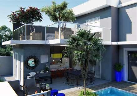 Área de lazer Perfeita: Casas ecléticas por Trivisio Consultoria e Projetos em 3D
