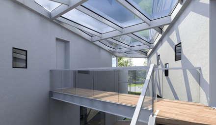 Brücke zur Verbindung beider Riegel:  Treppe von Architekturbüro Milan Schmitt