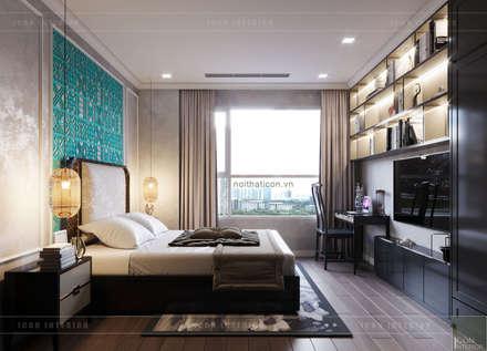 Thiết kế phong cách Đông Dương cùng sắc xanh độc đáo - Park Hill:  Phòng ngủ by ICON INTERIOR