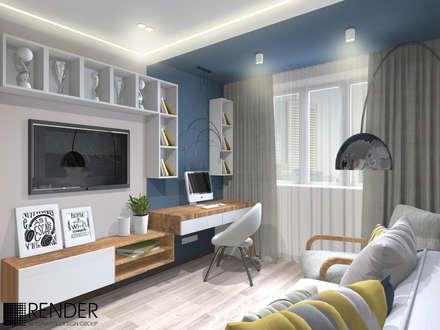 Интерьер трехкомнатной квартиры с бирюзовыми акцентами: Детские комнаты в . Автор – RENDER