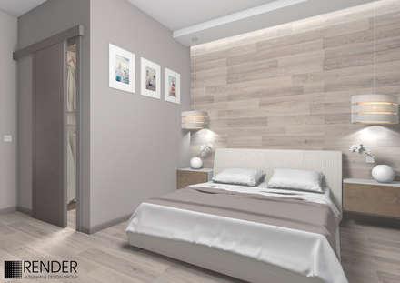 Интерьер трехкомнатной квартиры с бирюзовыми акцентами: Спальни в . Автор – RENDER