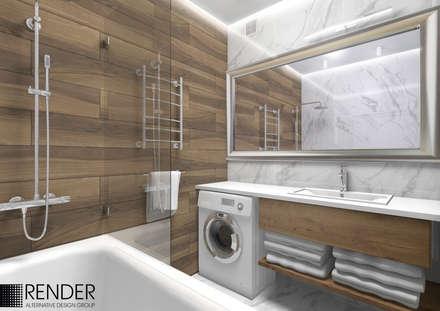 Интерьер квартиры с гостиной-студией, эклектика: Ванные комнаты в . Автор – RENDER