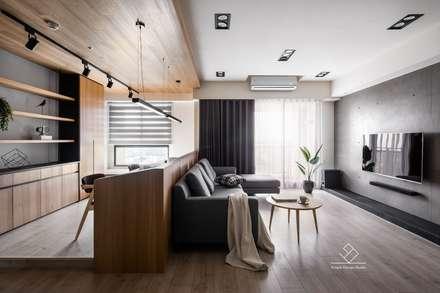 書房/客廳:  客廳 by 極簡室內設計
