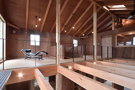 I-house 2階内観: 株式会社 森本建築事務所が手掛けた寝室です。
