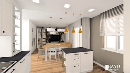 Living room and kitchen in the Provencal style  two concepts:  Built-in kitchens by BAYO  Design