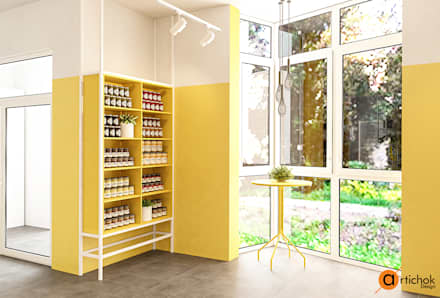 Дизайн магазина в желтом цвете: Офисы и магазины в . Автор – Art-i-Chok