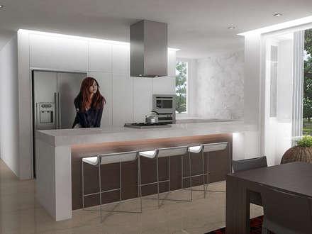 5 Casas en Miami: Cocinas de estilo minimalista por RRA Arquitectura
