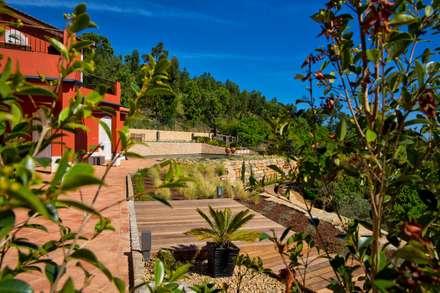Moradia Moderna com Jardim e Piscina: Jardins de fachada  por Jardíssimo