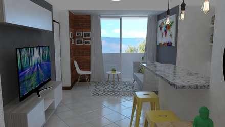 Apartamento pequeño: Salas de estilo industrial por Naromi  Design