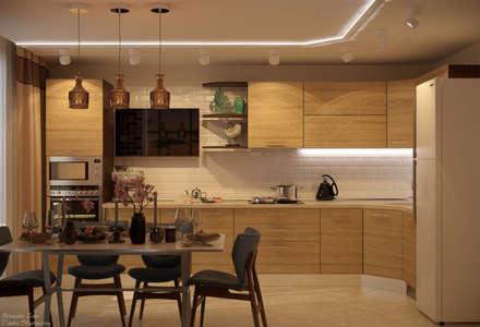 Дизайн кухни в стиле модернизм в квартире по ул. Артезианская, г.Краснодар: Кухни в . Автор – Студия интерьерного дизайна happy.design