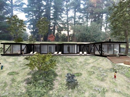VISTA FRONTAL: Casas de estilo rústico por KOMMER ARQUITECTOS