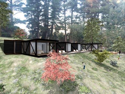VISTA LATERAL: Casas de estilo rústico por KOMMER ARQUITECTOS