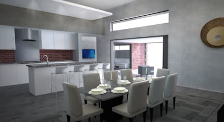New Dining Room & Kitchen:  Kitchen units by A4AC Architects
