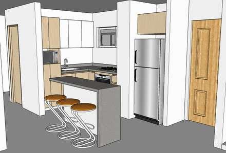 Render aprobado por el cliente: Cocinas integrales de estilo  por Remodelar Proyectos Integrales