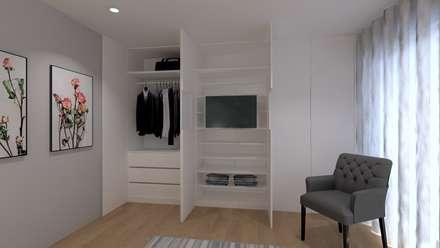 Refúgio em Montalegre: Quartos modernos por QOTDA Design