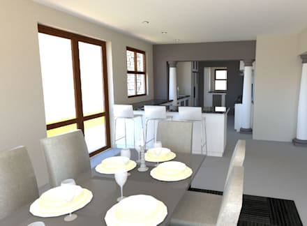 New Kitchen & Dining Room:  Built-in kitchens by A4AC Architects