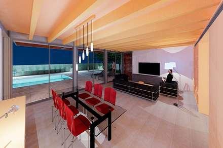 SALON COMEDOR CASA IBARRA: Comedores de estilo minimalista de VALEROYOCHANDO arquitectura