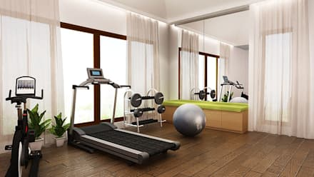 GYM AREA: modern Gym by K Square Architects