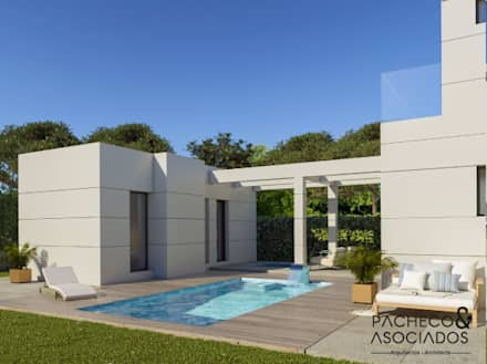 Villa en La Manga Club - Parte trasera y exteriores: Casas unifamilares de estilo  de Pacheco & Asociados