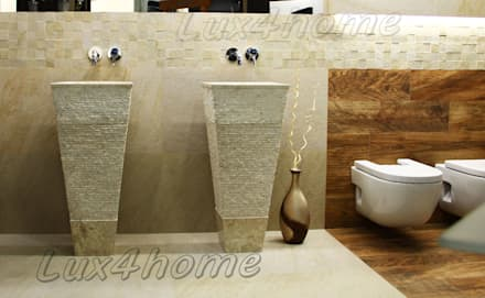 Freestanding Stone Wash Basins - Pedestal Stone Sinks - bathroom sinks: industrial Bathroom by Lux4home™ Indonesia