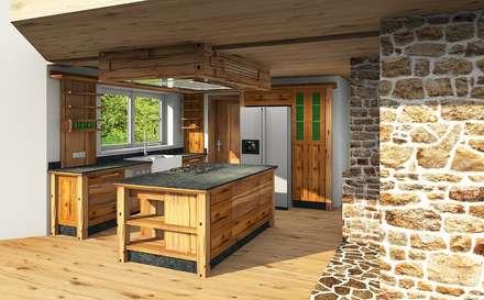 Altholzküche für Haus am See: rustikale Küche von Pfister Möbelwerkstatt